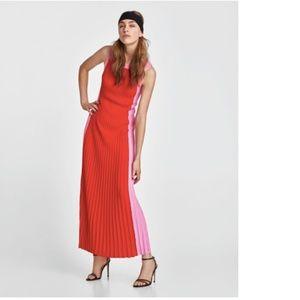 Zara Knit Long Two-Tone Dress